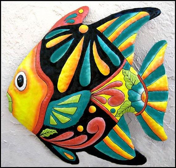 "Tropical Fish Pool Decor, Coastal Tropical Art, Painted Metal Wall Decor, Garden Art, Metal Wall Art, Outdoor Metal Art - 24"", M801-YL-24"