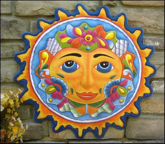 DECORATIVE SUN, Wall Hanging,  Painted Metal Art, Recycled Steel Drum, Haitian Art,  Outdoor Garden Art, Outdoor Metal Wall Art- M-100-LBL