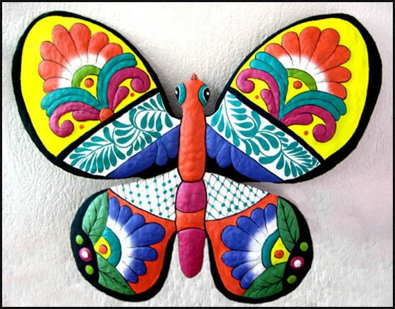 Decorative Painted Metal Butterfly Wall Decor, Metal Art Butterfly Wall Hanging, Outdoor Garden Decor, Yard Art, Tropical Decor, M901-OR