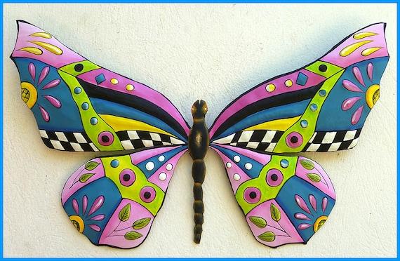 Painted Metal Pink Butterfly Wall Hanging, Metal Wall Art,  Funky Art, Whimsical Art , Haitian Metal Art, Outdoor Garden Decor - J-902-PK