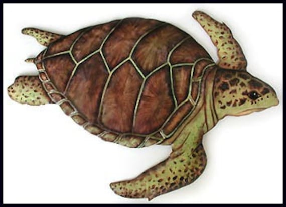 "Metal Wall Hanging, Loggerhead Turtle, Outdoor Garden Decor, Metal Art, Painted Metal Garden Art -18"" x 24"",  Metal Art of Haiti - K-7048-B"