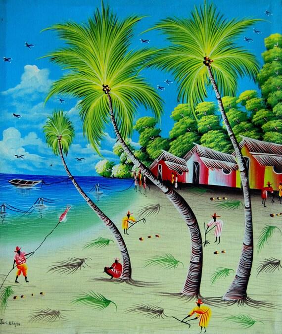 "Art of Haiti, Canvas Painting, Haitian Art, Canvas Wall Art, Haitian Painting, Canvas Art, Original Painting, Hand Painted Art,  20"" x 24"""