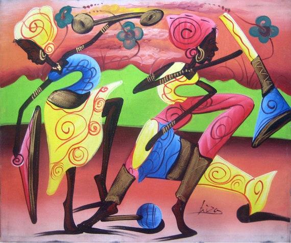Original Painting, Canvas Painting, Haitian Painting, Haitian Art, Women Dancing, Canvas Wall Art, Art of Haiti, Canvas Art, 20 x 24