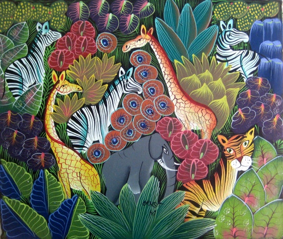 Haitian Art, Canvas Art, Art of Haiti, Canvas Painting, Haitian Painting, Canvas Wall Art, Original Painting, Hand Painted,  20 x 24