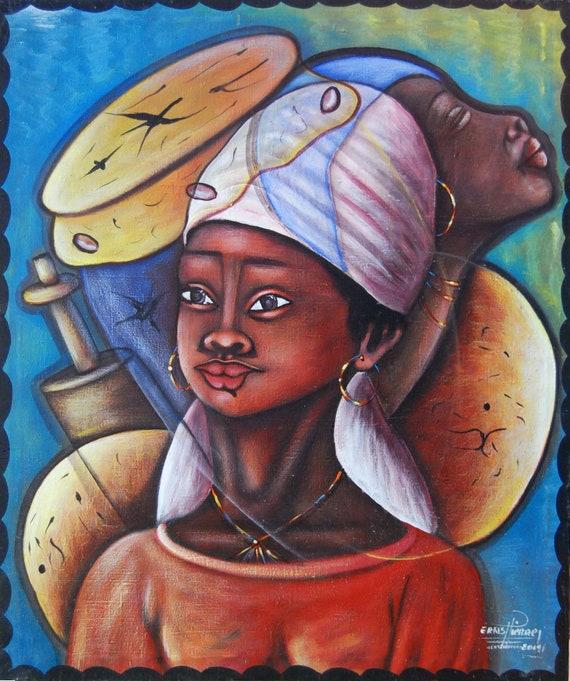 "Canvas Painting, Haitian Art, Canvas Wall Art, Art of Haiti, Haitian Painting, Canvas Art, Original Painting, Hand Painted Art,  20"" x 24"""
