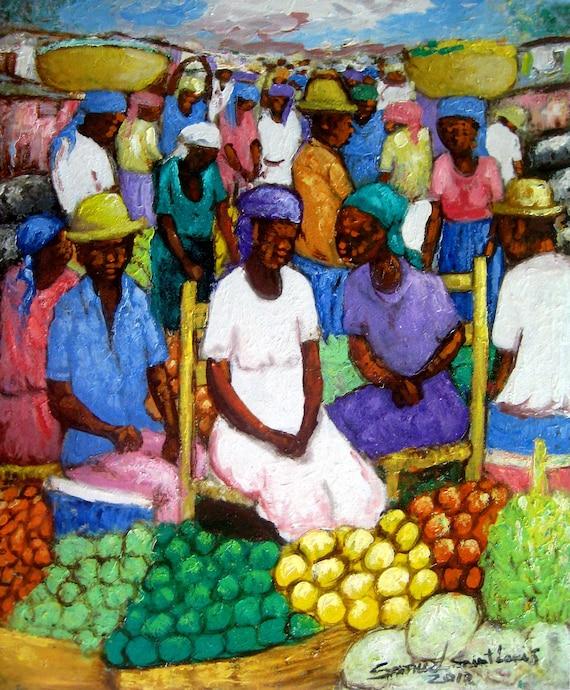 Art of Haiti, Canvas Painting, Haitian Painting, Haitian Art, Haitian Market Scene, Original Painting, Canvas Wall Art, Canvas Art, 20 x 24