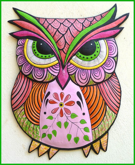 Hand Painted Metal Art Owl Wall Hanging, Whimsical Art, Metal Wall Art,  Owl Art, Haitian Art, Folk Art, Outdoor Patio Decor - J-352-PK