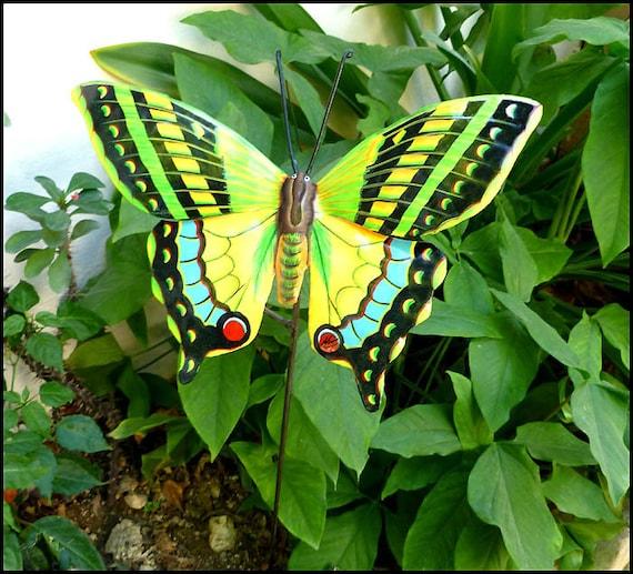 Painted Metal Butterfly Garden Decor, Outdoor Garden Art, Garden Markers, Plant Stake, Butterfly Plant Stick, Yard Art, Metal Art  - PS-514