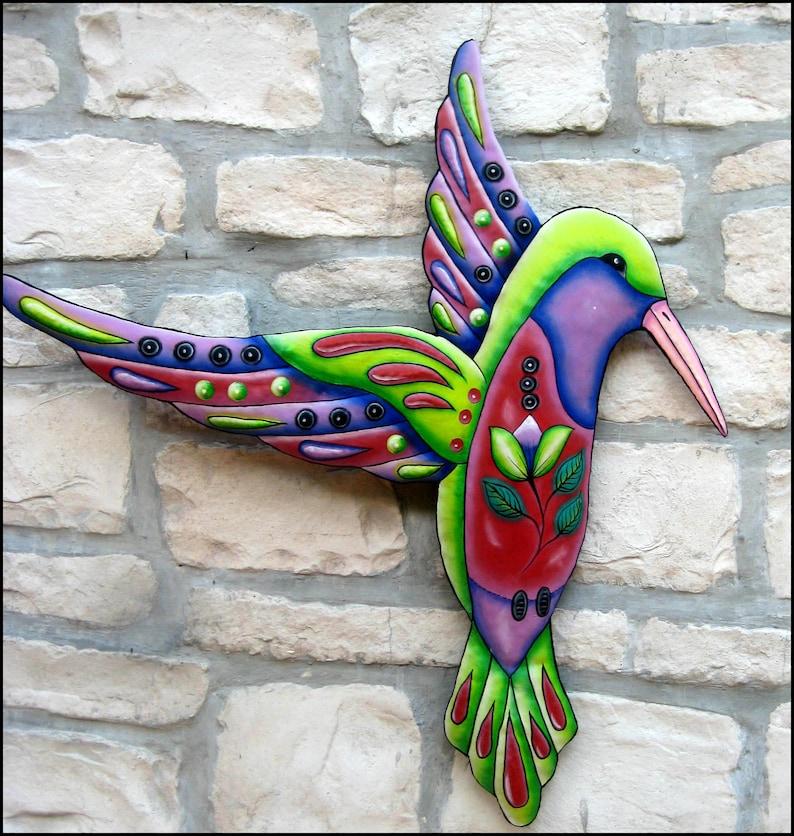 Hummingbird Wall Hanging Outdoor Wall Art Metal Wall Decor Painted Metal Art Garden Decor Bird Art Metal Wall Art Bird Decor J500 Pu