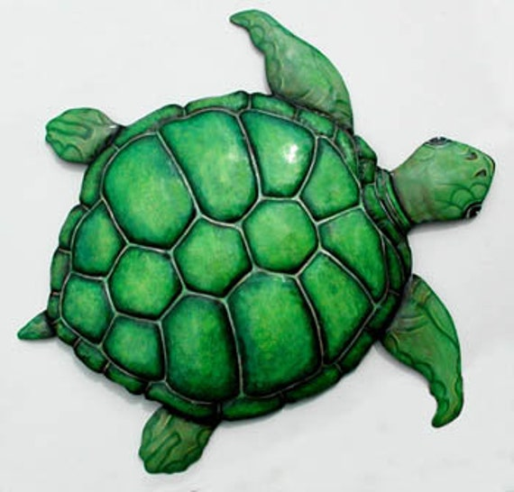 Green Sea Turtle, Beach Decor, Metal Wall Hanging, Garden Decor, Garden Art, Metal Wall Hanging, Outdoor Metal Art, Painted Metal, K-7049-A