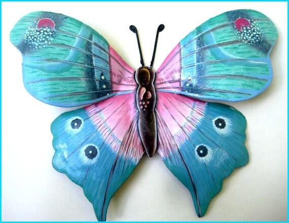 Hand Painted Butterfly Metal Wall Decor, Garden Art, Tropical Decor, Wall Art, Haitian Metal Art, Butterflies, Recycled Steel Drums - 519-AQ