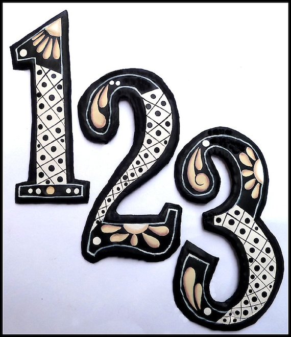 """1 House Number, 4 1/2"""" Hand Painted Metal Address, Decorative House Number, Address Sign, Metal Numbers, Yard Art, Number, AD-200-4TN"""
