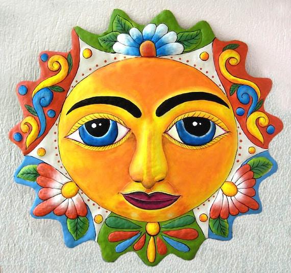 METAL SUN, Tropical Sun Garden Art, Painted Metal Wall Decor, Steel Drum Haitian Art, Outdoor Metal Art, Metal Wall Art - M-111-OR