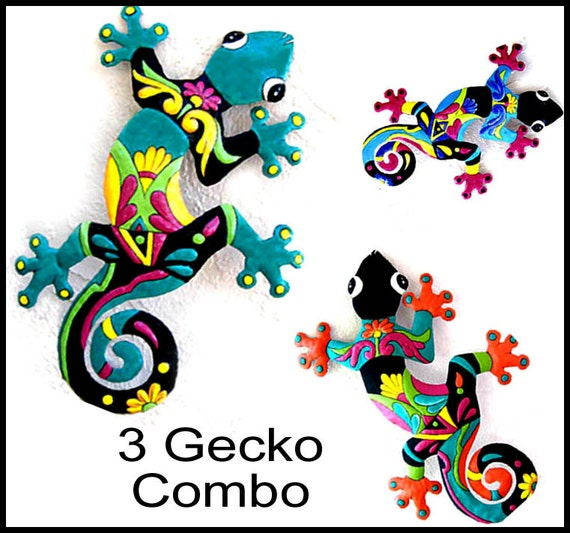 3 Geckos Metal Art, Metal gecko wall art, Garden decor, Haitian Art, Garden Art, Outdoor Metal Wall Art, Outdoor Wall Art- M-Gecko-Combo - 2
