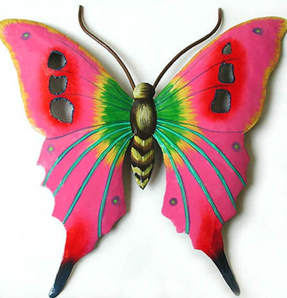 "Painted Butterfly Art, Metal Wall Art, Metal Wall Hanging, Butterfly Metal Art, Outdoor Garden Art, Painted Garden Decor, 14"" RM-108-P"