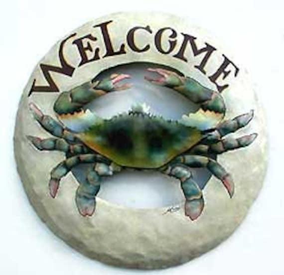 Painted Metal Blue Crab, Metal Art, Metal Welcome Sign, Nautical Metal Art, Coastal Wall Decor, Metal Wall Art. Garden Decor -K7063-B