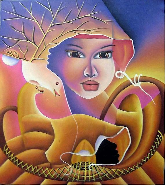 "Haitian Painting, Canvas Art, Haitian Woman, Haitian Art, Hand Painted Canvas Painting , Original Art of Haiti - 20"" x 24"""