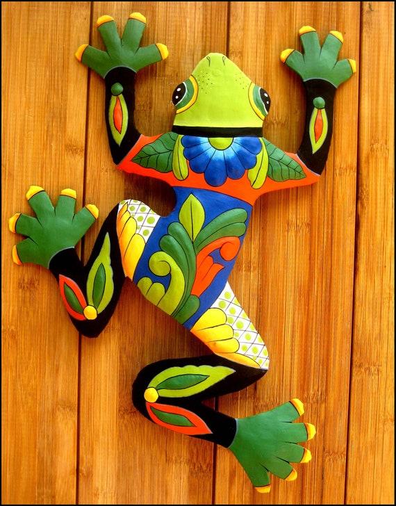 Frog Painted Metal Wall, Metal Frog Garden Decor