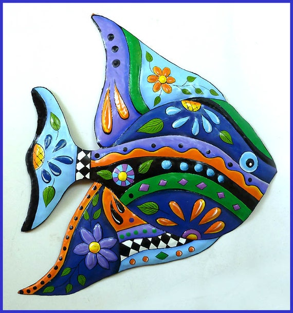 TROPICAL FISH, Metal Wall Art, Decorative Painted Metal Tropical Fish Art, Outdoor Garden Decor, Patio Decor, Outdoor Metal Art J452-BL