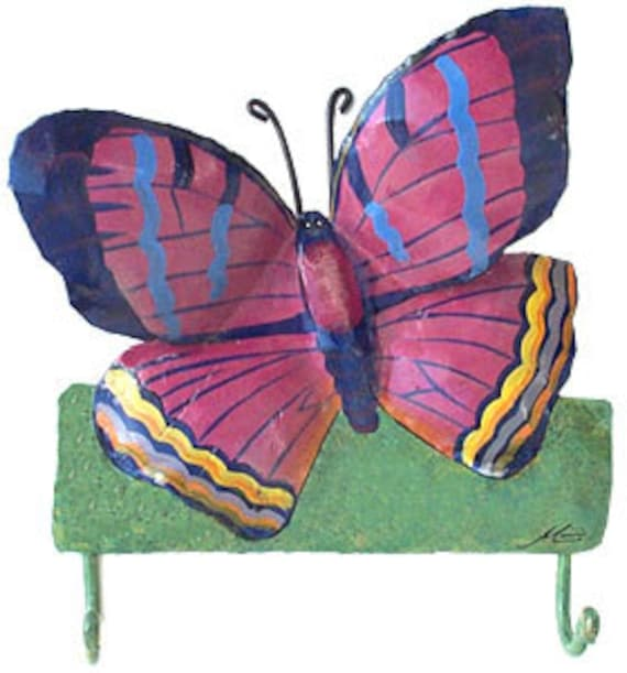 Butterfly Wall Decor - Hand Painted Metal Wall Hook - Butterflies Wall Hanging - Handcrafted Metal -  Tropical Home Decor -  BU-504-H