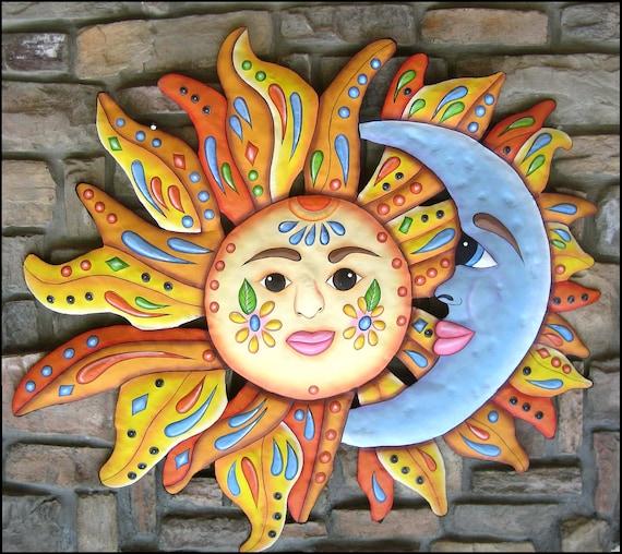 SUN GARDEN ART,  Garden Decor, Outdoor Metal Wall Art, Outdoor Metal Art, Sun,  Painted Metal Wall Hanging, Patio Decor, Pool Decor - J-150
