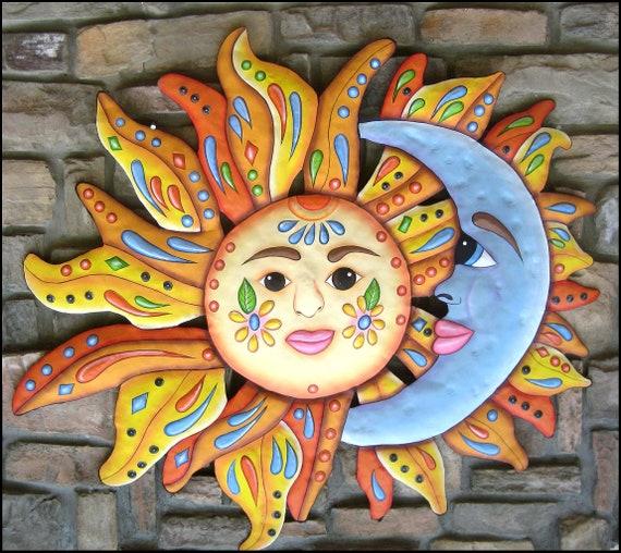 "Sun Moon Art, Garden Decor, Metal Wall Art, Outdoor Metal Art,  Painted Metal Wall Hanging, 24"", Patio Decor, Pool Decor - J-150-24"
