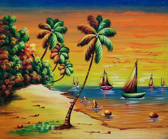 "Haitian Art, Canvas Painting, Original Painting, Haitian Painting, Hand Painted Art, Art of Haiti, Canvas Art, Canvas Wall Art,  20"" x 24"""