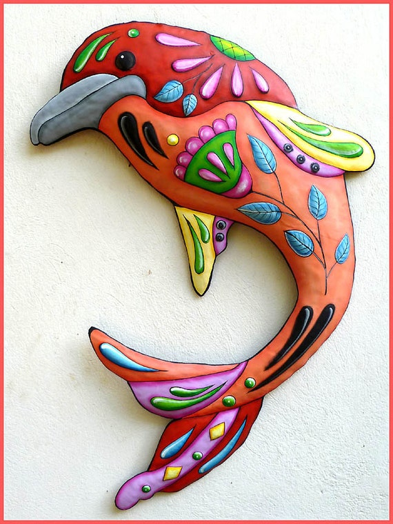 Painted Metal Dolphin, Wall Hanging, Metal Wall Decor, Metal Art, Nautical Art, Tropical Art, Metal Wall Art, Garden Decor - J-458-OR