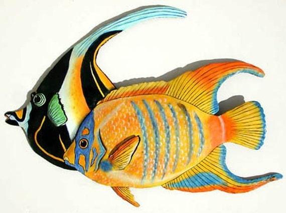 TROPICAL FISH Wall Art, Outdoor Metal Wall Hanging, Island Decor, Beach Decor, Painted Metal Art, Painted Tropical Fish, Metal Art,  187