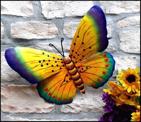 "Butterfly wall decor, Painted Metal Butterfly Art, Garden Art. Garden Decor, 16"" - BU-511-16-Y"