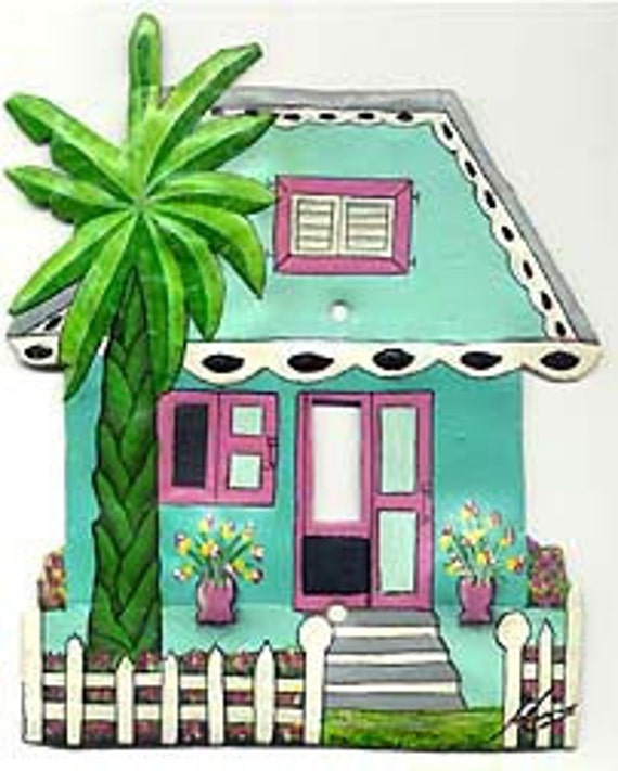 Switchplate Cover, Light Switch Covers, Single Switch Plates, Painted Metal Caribbean House, Switch Plate Covers, Switchplates, S-1025-TQ-1