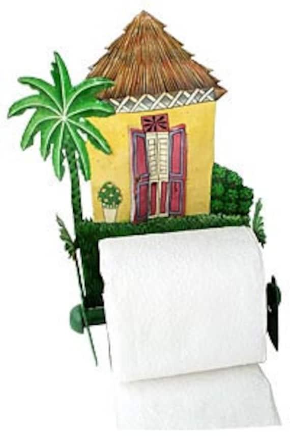 Tropical Design Toilet Paper Holder, Hand Painted Caribbean House - Tropical Bathroom Decor, Tissue Holder, Toilet Roll Holder - 7074-YL-TP