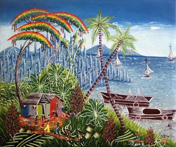 """Haitian Painting, Haitian Art, Art of Haiti, Original Painting, Canvas Painting, Canvas Art, Caribbean Art, Canvas Wall Art,  20"""" x 24"""""""