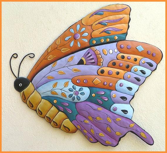 Painted Metal Butterfly, Wall Decor, Garden Wall Art, Metal Wall Art, Outdoor Metal Art, Garden Art, Butterfly Art, Patio Decor-J-904-PU