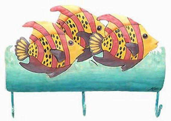 "TROPICAL FISH Wall Hook, Towel Hook, Metal Hook, Hand Painted Metal, Tropical Decor, Tropical Fish, Bathroom Decor, 10""  x 15"" -K-7103-3-R"