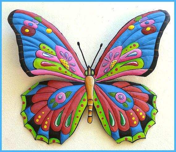 Painted Metal Butterfly Art - Butterfly Wall Hanging, Butterfly Art, Outdoor Garden Decor,  Metal Art, Metal Wall Art, Haitian Art- J-903-BL