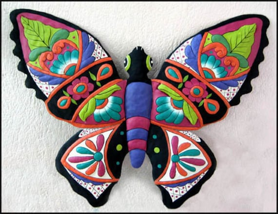 Painted Metal Butterfly, Metal Wall Decor, Garden Decor, Metal Wall Art, Outdoor Garden Art , Metal Art, Tropical Decor, Butterflies M900-PU