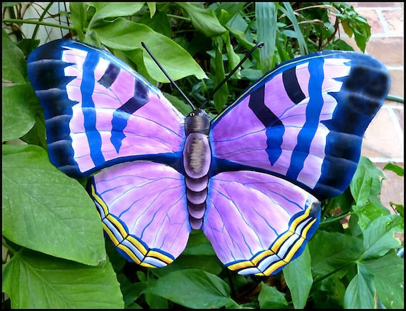 Butterfly Plant Stake -  Outdoor Garden Art - Hand Painted Metal, Garden Decor - Outdoor Metal Art, Painted Butterfly - PS-504-PU