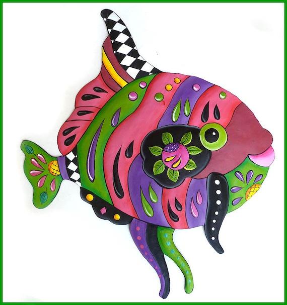 TROPICAL FISH, Garden Wall Art , Painted Metal Art, Tropical Decor, Tropical Art, Metal Wall Art, Haitian Art, Garden Decor - J-450PK-GR