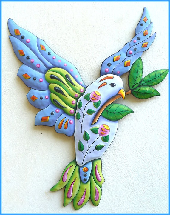 Dove Wall Hanging, Hand Painted Metal Wall Decor, Metal Art, Bird Art, Dove, Metal Wall Hanging, Metal Wall Art, Decorative Wall Art - J-501