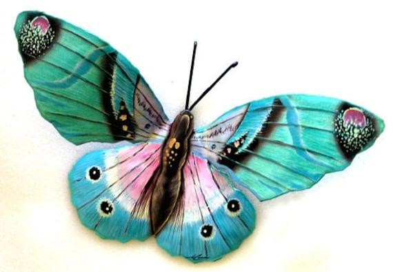 Butterfly Metal Art, Metal Wall Decor, Butterfly, Painted Garden Art, Butterflies, Metal Wall Art, Outdoor Metal Art - Garden Decor, 516-AQ
