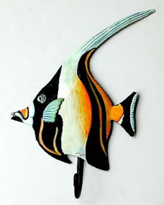 TROPICAL FISH, Painted Metal Wall Hook, Bathroom Towel Hook, Moorish Idol, Metal Hook, Painted Metal Fish, Tropical Bathroom Decor, K141-HK
