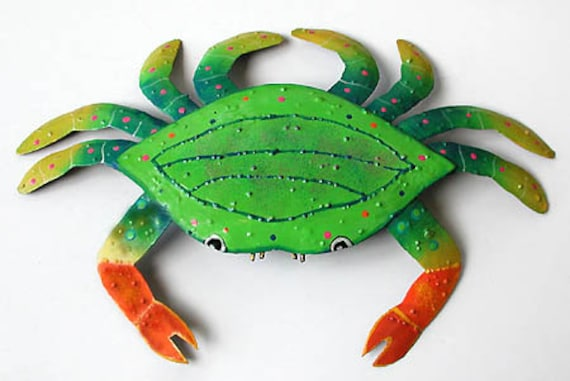 "Metal Crab Wall Hanging, Tropical Wall Decor, Beach Decor, Coastal Decor, Painted Metal Art, Nautical Decor, Garden Decor, 21"", RX107-GR-21"