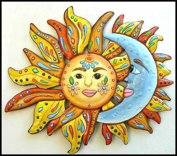 Sun Moon Art Metal Wall Art Painted Metal Wall | Etsy
