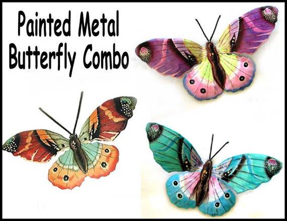 Butterfly wall decor, Metal Wall Decor, Garden Art, Butterflies, Outdoor Metal Wall Art, Steel Drum Metal Art - 516-Combo - 22