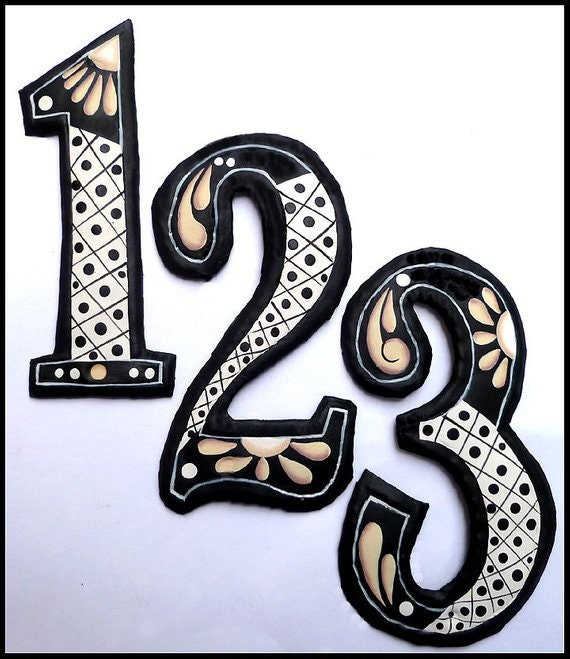 House Numbers,  Hand Painted Metal Address Number, Metal Numbers. Painted Metal, Decorative Numbers, Address Sign, Yard Decor, AD-200-TN