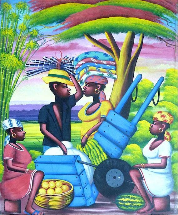 "Haitian Art, Haitian Painting, Canvas Art, Naive Art, Canvas Painting, Original Painting, Art of Haiti, Wall Art, Wall Decor  - 20"" x 24"""
