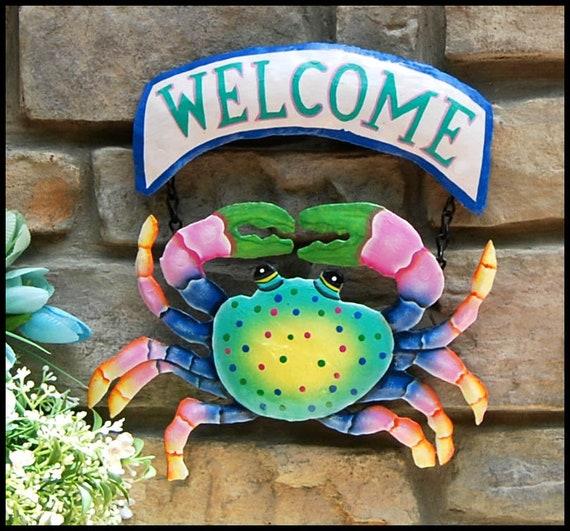 Coastal Metal Welcome Sign, Colorful Painted Metal Crab, Metal Wall Art, Tropical Decor, Beach Decor, Island Decor, Garden Decor -227-AQ-CW