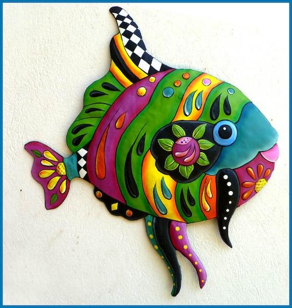 Decorative Tropical Fish Wall Art, Painted Metal, Outdoor Metal Art, Wall Decor, Funky Art, Garden Decor, Tropical Metal Wall Art - J-450-GR