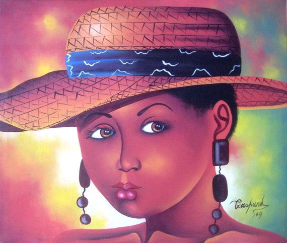 Canvas Art, Canvas Painting, Haitian Painting, Haitian Art, Haitian Young Women, Original Painting, Canvas Wall Art, Art of Haiti,  20 x 24